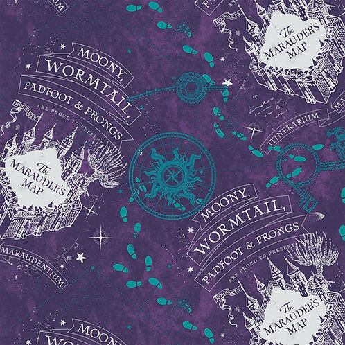 FLANNEL - Harry Potter Marauders Map Purple Flannel Fabric