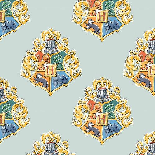 Harry Potter Watercolour Crests Fabric - Mint