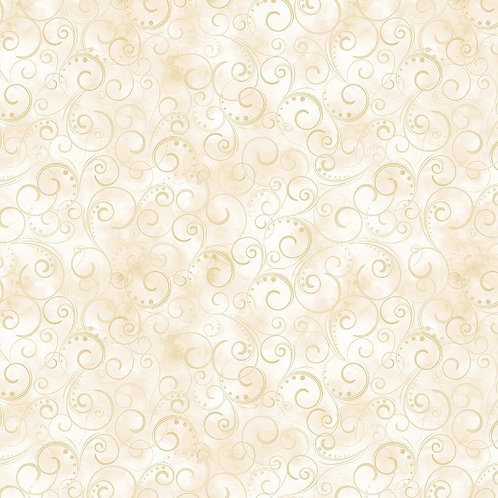 "Benartex 108"" Swirling Splendor Cream"