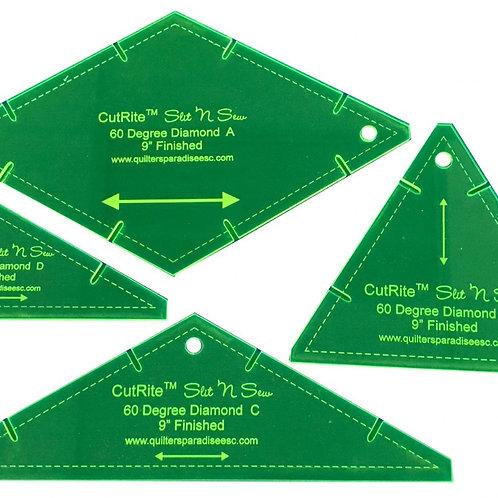 CutRite Slit N Sew 60 Degree Diamond 9 Inch Finished Template