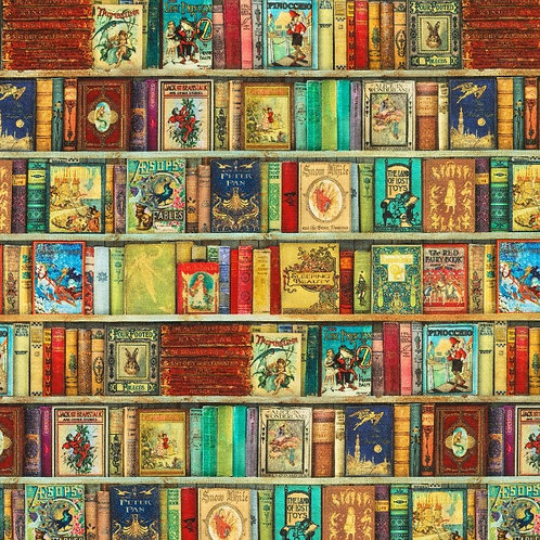 Antique Library of Rarities Books Fabric