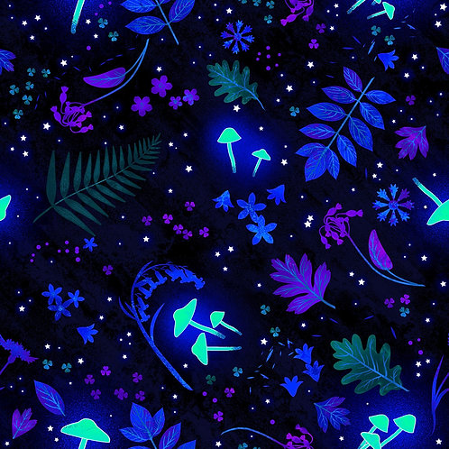 Black Tossed Leaves and Mushrooms Glows in the Dark Fabric