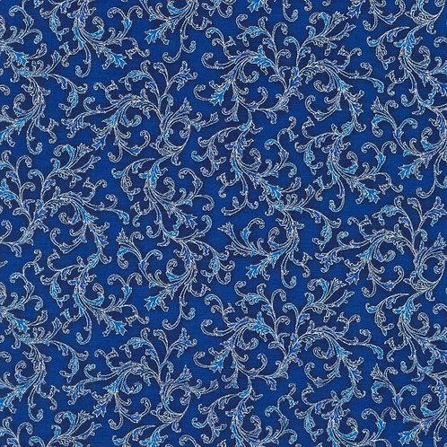 Holiday Flourish 14 Swirls Navy with metallic Fabric