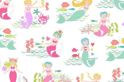 Makower Merryn White Fabric