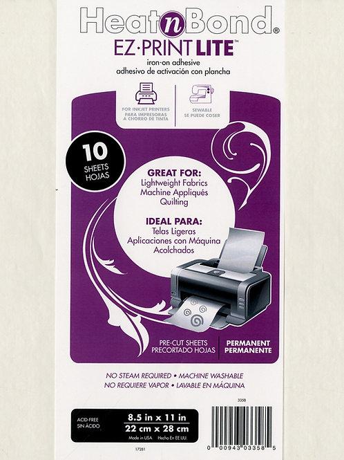 """Heat N Bond EZ Print Lite 8.5"""" x 11"""" x 10 Sheets"""