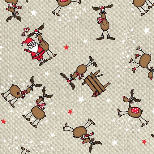 Christmas Santa and Friends Linen Look Fabric