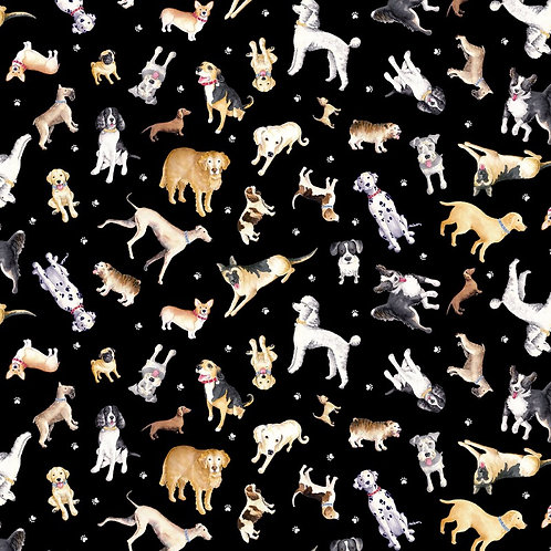 Faithful Friends Dog Fabric - Black