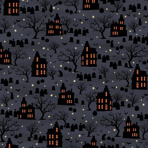 Spooky Night Midnight Spooky Houses Fabric