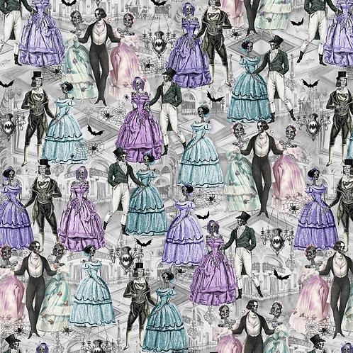 Multi Victorian Skeletons Dancing Halloween Fabric