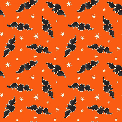 Here We Glow Orange Tossed Bats Glow In The Dark Fabric
