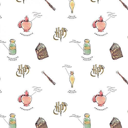 Harry Potter Watercolour Oddities Fabric - White