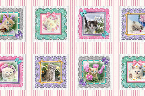Pink Kitty Cat 9in x 9in Blocks Digitally Printed 24in panel