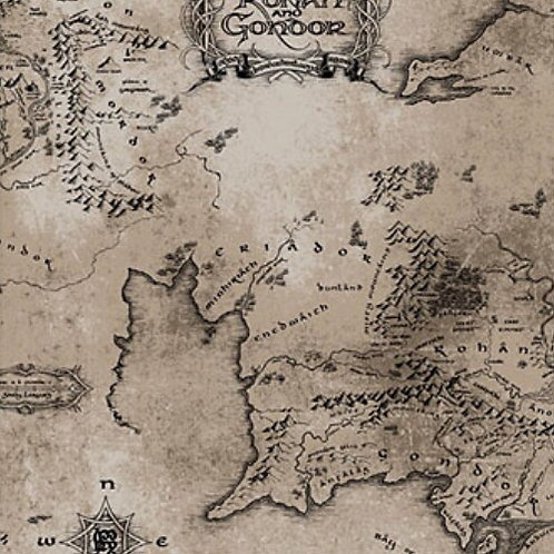 Lord of the Rings Middle Earth Map Taupe Fabric