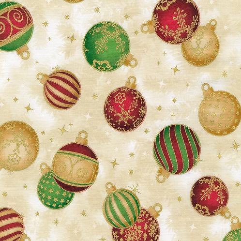 Holiday Flourish 14 Ornaments Holiday with metallic Fabric