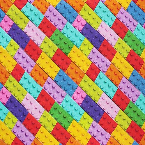 Jersey - Lego Style Blocks Fabric