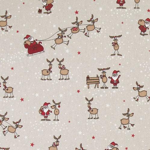 Christmas Santa and His Sleigh Linen Look Fabric