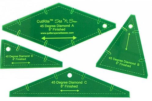 CutRite Slit N Sew 45 Degree Diamond 8 Inch Finished Template