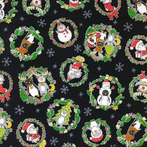 Black Costume Animal Christmas Fabric Cotton Oxford