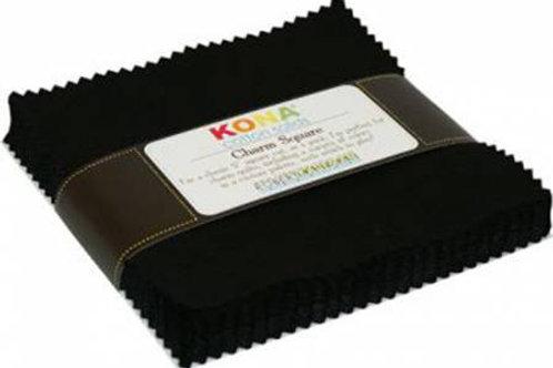 Robert Kaufman Kona Cotton Solids Black Charm Pack