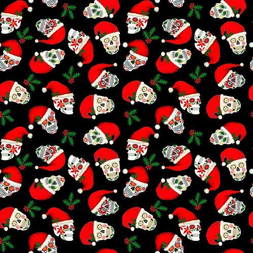 Black Christmas Sugar Skulls Fabric