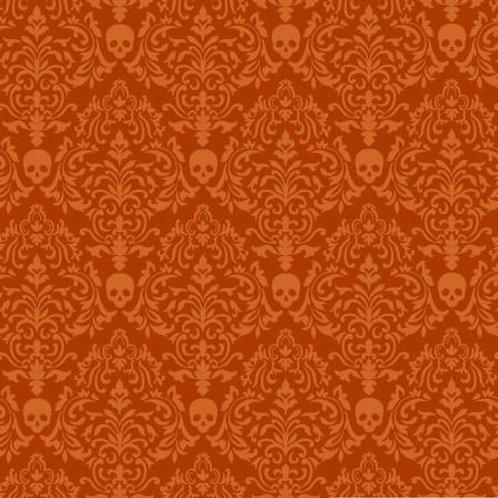 Spooky Night Orange Spooky Small Damask Fabric