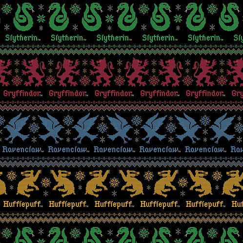 Harry Potter Christmas Sweater Houses Fabric - Black