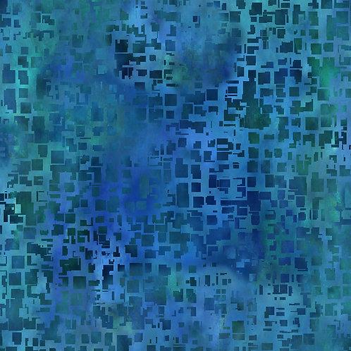 Urban Jungle Blocks Fabric - Blue