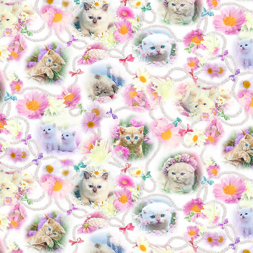 Pink Cats Medlwy Digitally Printed fabric