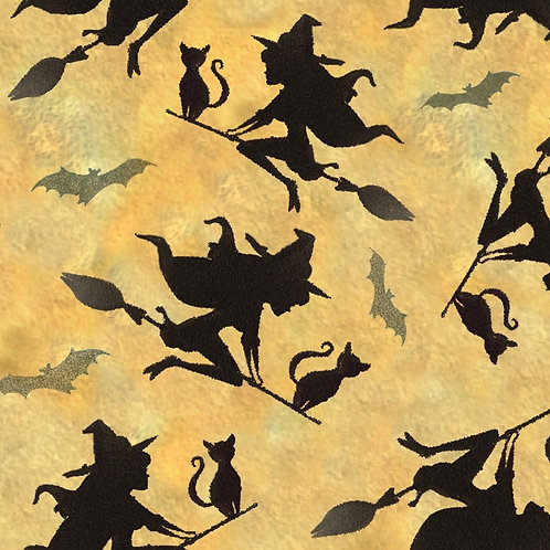 Flying Witches Halloween Fabric