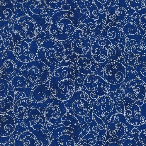 Holiday Flourish 14 Fine Swirls Navy with metallic Fabric