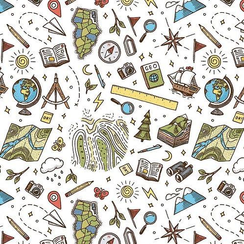 School Days Geography Fabric