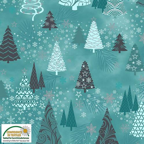 Stof Magic Christmas Fabric - Teal Trees Green Metallic