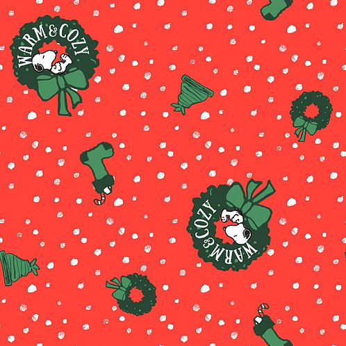 Peanuts Snoopy Red Christmas Wreath Fabric