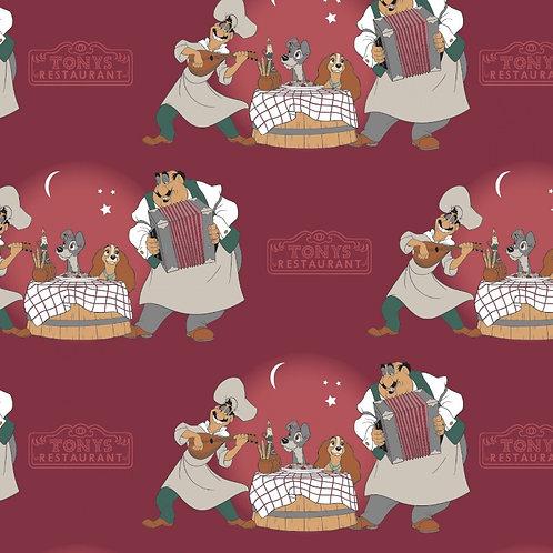 Disney Burgundy Disney Lady and The Tramp Bella Notte Fabric