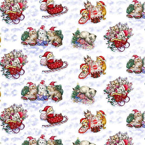 Christmas Kittens Playing in the Snow Fabric