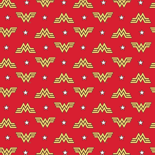 FLANNEL - Wonder Woman Logo Flannel Fabric - Red