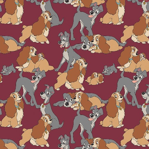 Disney Burgundy Disney Lady and The Tramp Perfect Fur Family Fabric