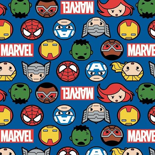 Blue Marvel Kawaii Hero Faces Fabric