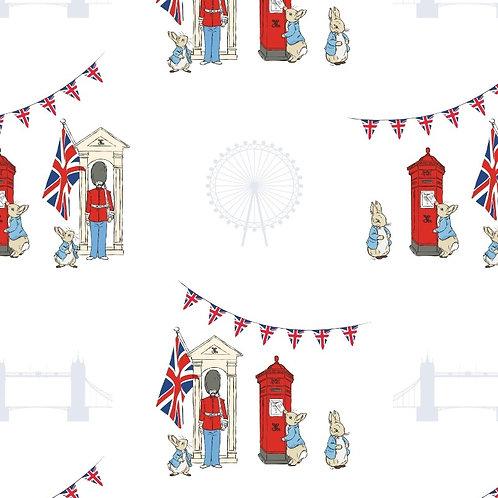 London Icons White Peter Rabbit Fabric