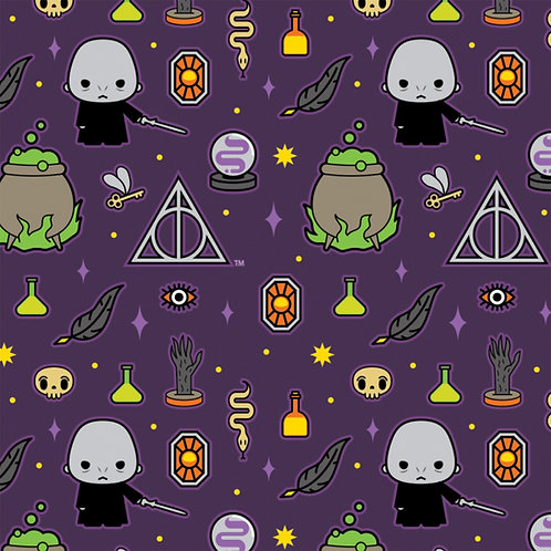 Harry Potter Kawaii Dark Arts Halloween Fabric - Purple