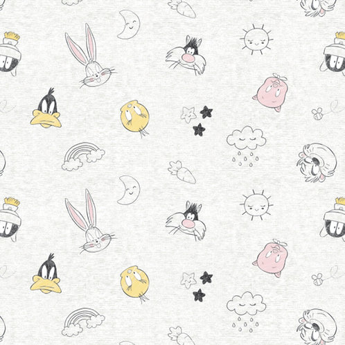Looney Tunes Character Head Toss Fabric - White with Grey Flecks