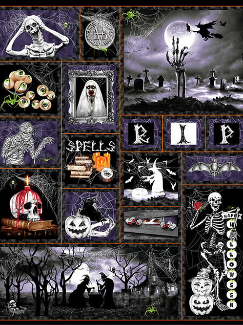 Hocus Pocus Halloween Panel Glow In The Dark Fabric