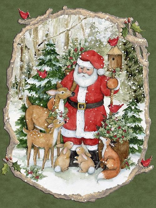 Santa Woodland Christmas Panel