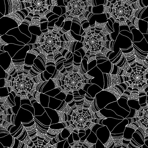 Patterned Web Halloween Fabric - Black