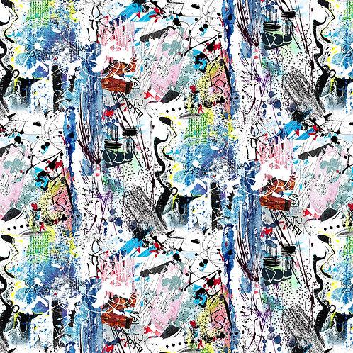 White Sabbath Graffiti Fabric