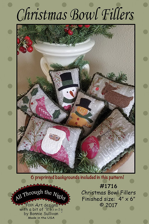 Christmas Bowl Fillers Pattern with Preprinted Panel.