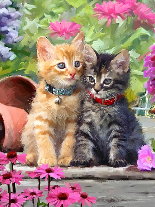 Kittens and Flowers Panel