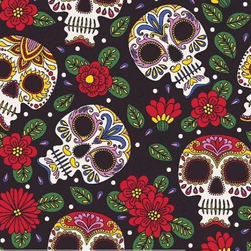 Halloween Floral Calaca Skulls Poplin Fabric