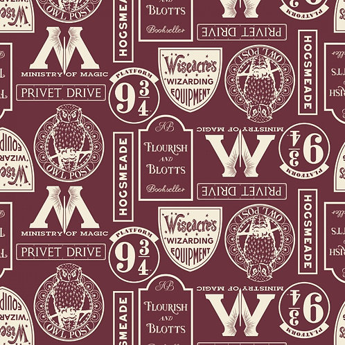 Harry Potter Locations Fabric - Burgundy