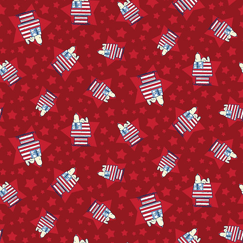 Snoopy House Fabric - Red